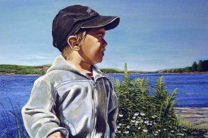 "A.J. by the Lake – 24"" X 36"" <span class=""sold"">•</span>"