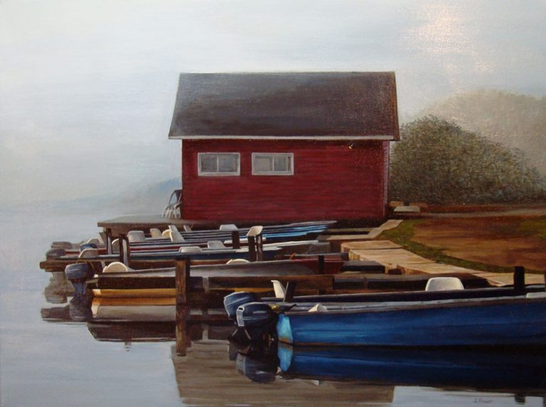 "Boats in a Row – 18"" X 24"" <span class=""sold"">•</span>"