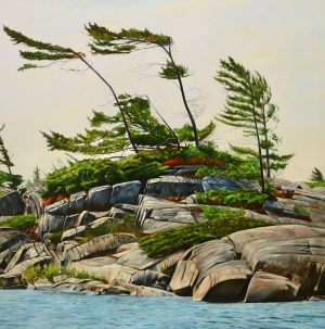 "Georgian Bay-Windswept Pines 48""x48""<span class=""sold"">•</span>"