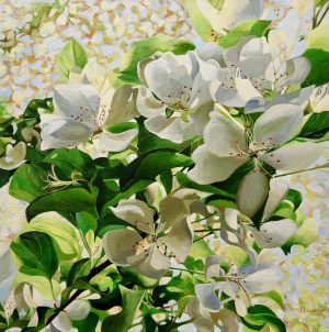 "Apple Blossoms 24""x24""<span class=""sold"">•</span> La Cloche Art Show Winner of Committee's Choice Award"