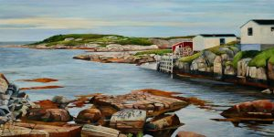 "Newfoundland-Morning Catch 15""x30""<span class=""sold"">•</span>"