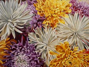 "Chrysanthemums Burst 30""x40""<span class=""sold"">•</span>"