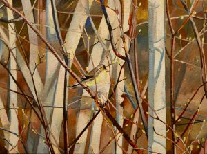 "Goldfinch and Budding Birch 12""x16""<span class=""sold"">•</span>"