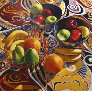 "Bold Fruit Series: Cocktail Party – 48"" X 48"" <span class=""sold"">•</span>"