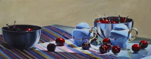 "Bold Fruit Series: Salt & Pepper & Cherries – 16"" X 40"" <span class=""sold"">•</span>"