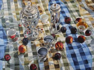 "Bold Fruit Series: Tea with Fedora 	– 36"" X 48"" <span class=""sold"">•</span>"