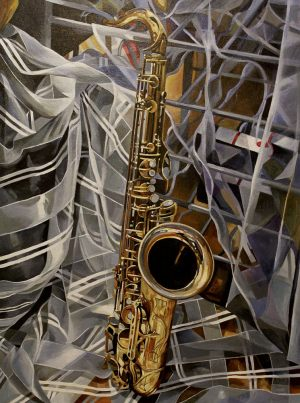 "Bold Jazz Series: Solo – 30"" X 40"" <span class=""sold"">•</span>"