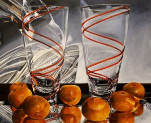 "Bold Fruit Series: Tangerine Twists – 24"" X 24"" <span class=""sold"">•</span>"