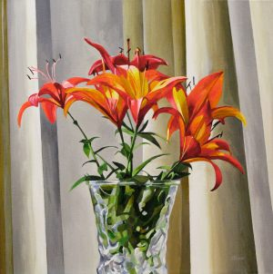 """Tiger Lily Deco – 24""""x24"""" <span class=""""sold"""">•</span>"""