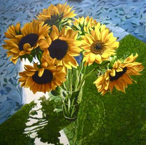 "Sunflowers – 48"" X 48"" <span class=""sold"">•</span>"