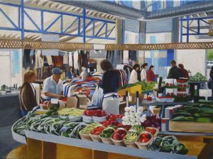 "Market in the Morning – 12"" X 16"" <span class=""sold"">•</span>"